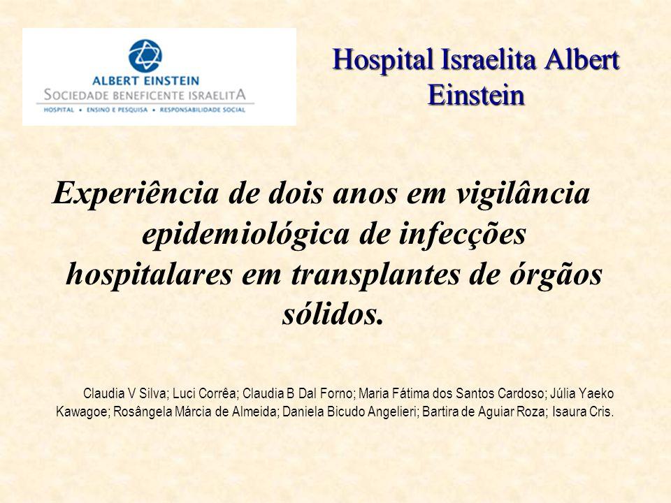 Hospital Israelita Albert Einstein Experiência de dois anos em vigilância epidemiológica de infecções hospitalares em transplantes de órgãos sólidos.
