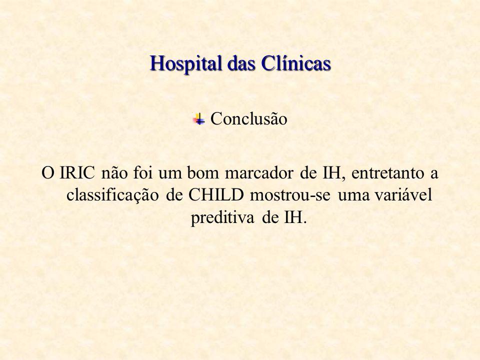 Hospital das Clínicas Conclusão O IRIC não foi um bom marcador de IH, entretanto a classificação de CHILD mostrou-se uma variável preditiva de IH.