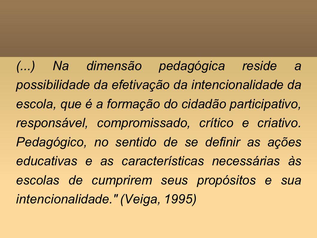 (...) Na dimensão pedagógica reside a possibilidade da efetivação da intencionalidade da escola, que é a formação do cidadão participativo, responsáve