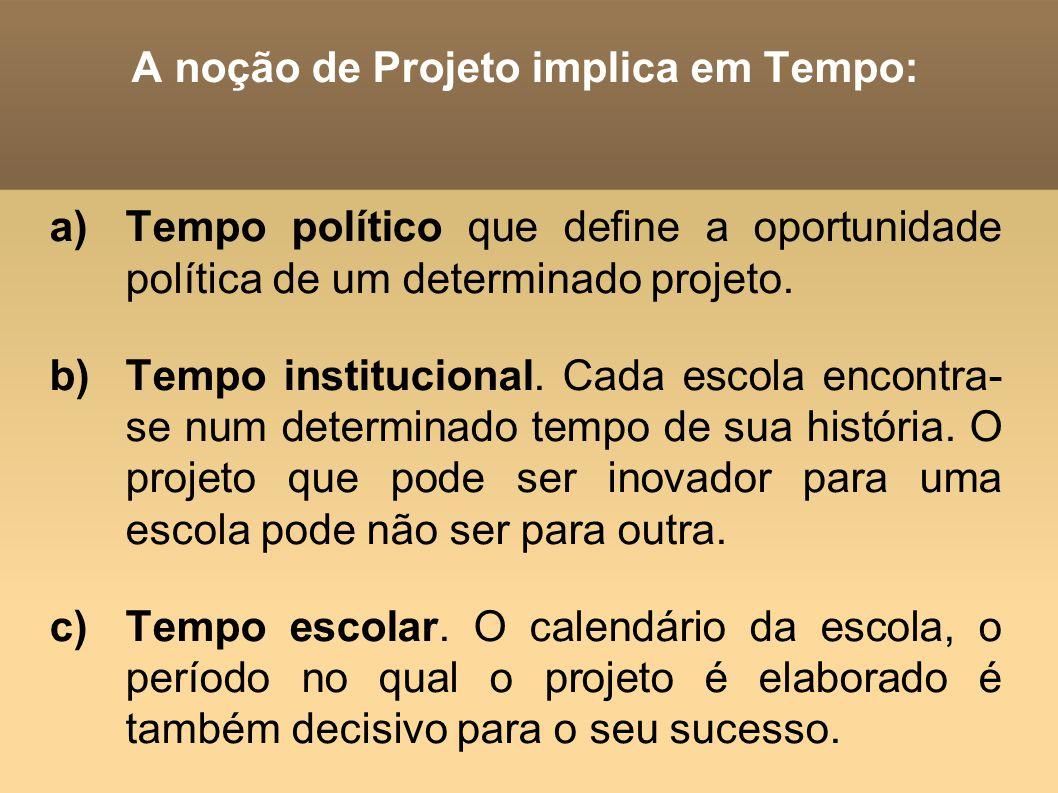 A noção de Projeto implica em Tempo: a)Tempo político que define a oportunidade política de um determinado projeto. b)Tempo institucional. Cada escola