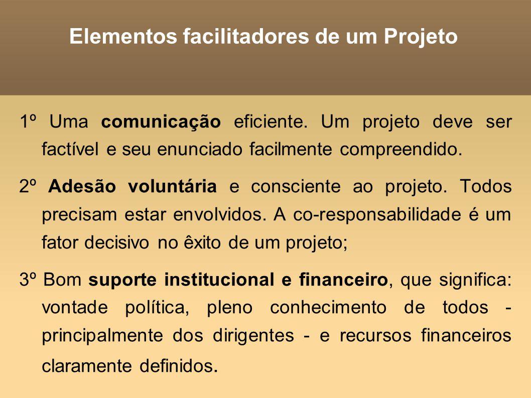 Elementos facilitadores de um Projeto 1º Uma comunicação eficiente. Um projeto deve ser factível e seu enunciado facilmente compreendido. 2º Adesão vo