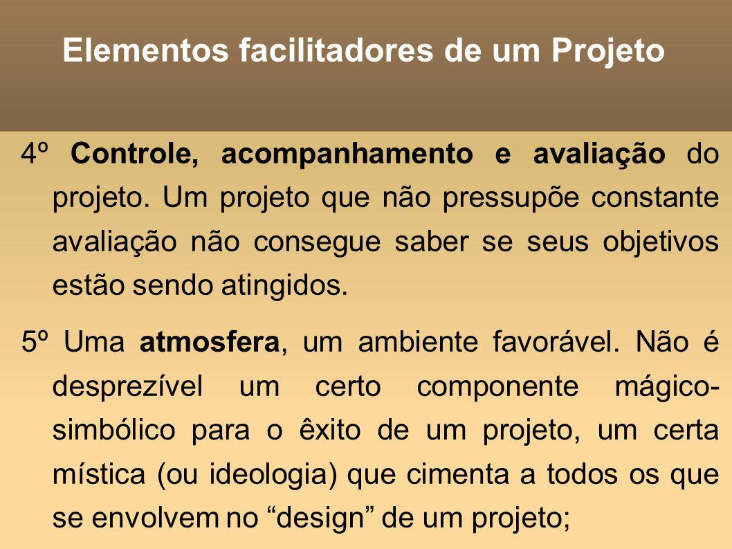 Elementos facilitadores de um Projeto 4º Controle, acompanhamento e avaliação do projeto. Um projeto que não pressupõe constante avaliação não consegu
