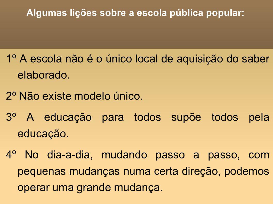Algumas lições sobre a escola pública popular: 1º A escola não é o único local de aquisição do saber elaborado. 2º Não existe modelo único. 3º A educa