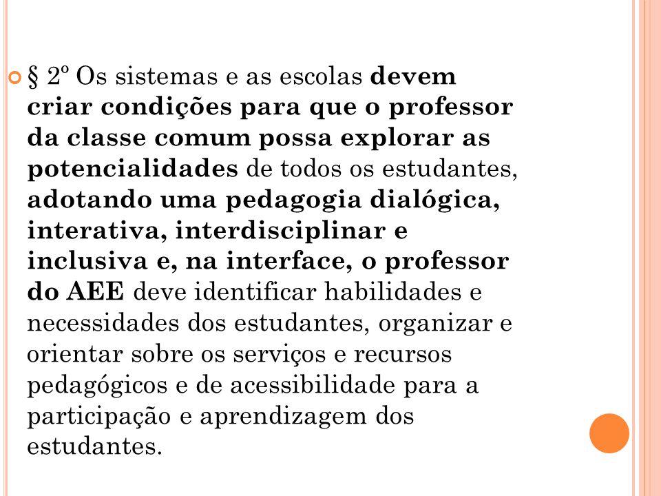 § 2º Os sistemas e as escolas devem criar condições para que o professor da classe comum possa explorar as potencialidades de todos os estudantes, ado