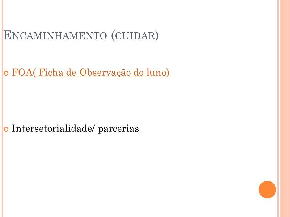 E NCAMINHAMENTO ( CUIDAR ) FOA( Ficha de Observação do luno) Intersetorialidade/ parcerias