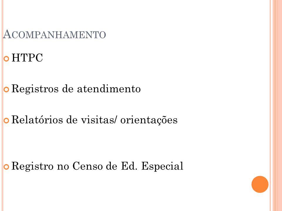 A COMPANHAMENTO HTPC Registros de atendimento Relatórios de visitas/ orientações Registro no Censo de Ed. Especial