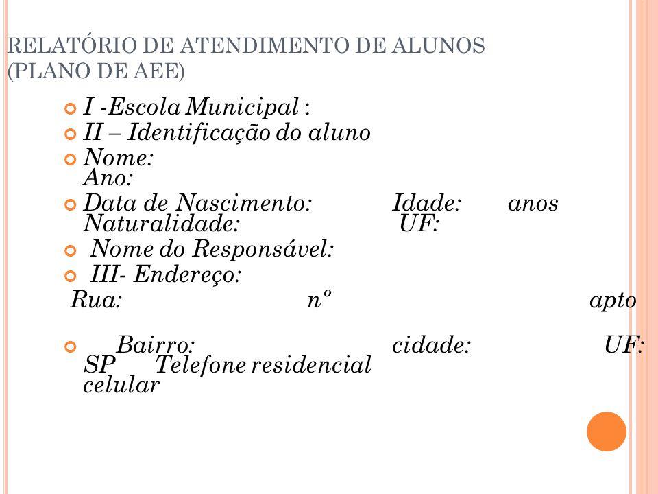 RELATÓRIO DE ATENDIMENTO DE ALUNOS (PLANO DE AEE) I -Escola Municipal : II – Identificação do aluno Nome: Ano: Data de Nascimento:Idade: anos Naturali