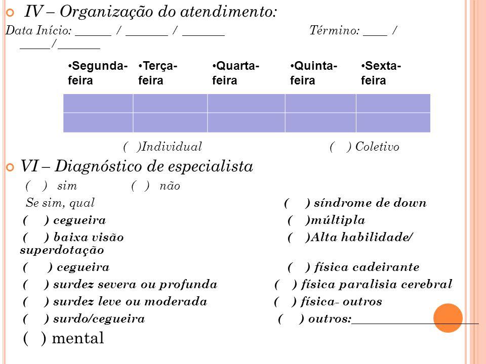 IV – Organização do atendimento: Data Início: ______ / _______ / _______ Término: ____ / _____/_______ ( )Individual ( ) Coletivo VI – Diagnóstico de