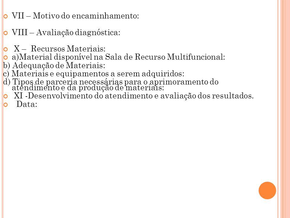 VII – Motivo do encaminhamento: VIII – Avaliação diagnóstica: X – Recursos Materiais: a)Material disponível na Sala de Recurso Multifuncional: b) Adeq