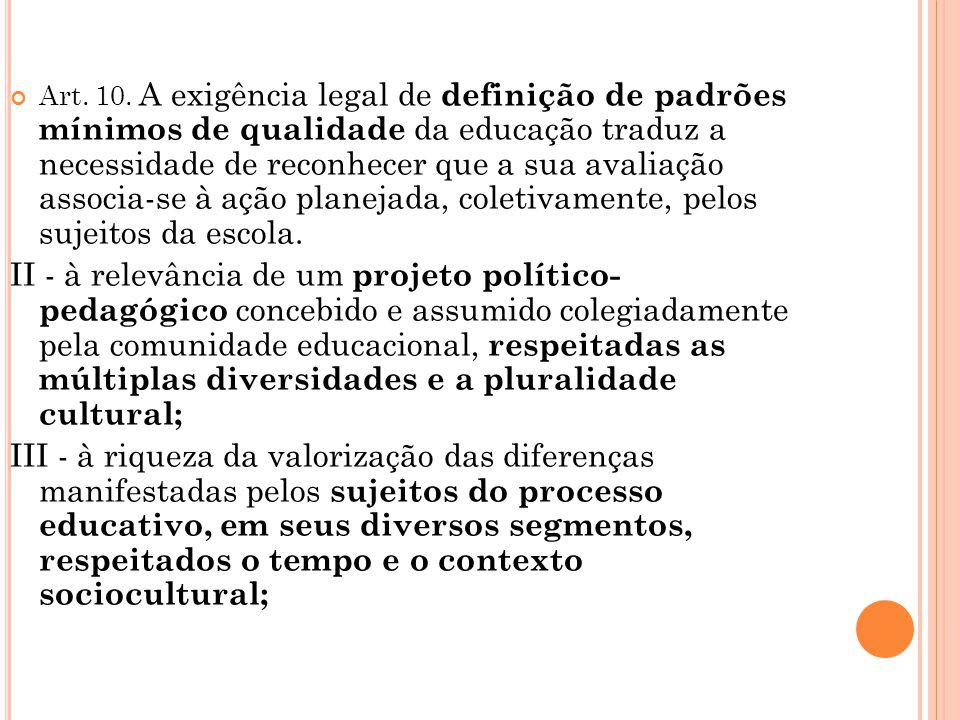 Art. 10. A exigência legal de definição de padrões mínimos de qualidade da educação traduz a necessidade de reconhecer que a sua avaliação associa-se