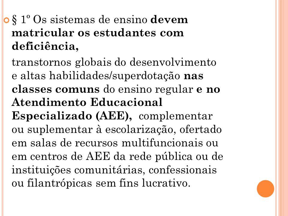 § 1º Os sistemas de ensino devem matricular os estudantes com deficiência, transtornos globais do desenvolvimento e altas habilidades/superdotação nas