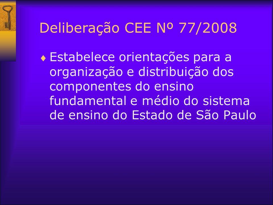 Deliberação CEE Nº 77/2008 Estabelece orientações para a organização e distribuição dos componentes do ensino fundamental e médio do sistema de ensino