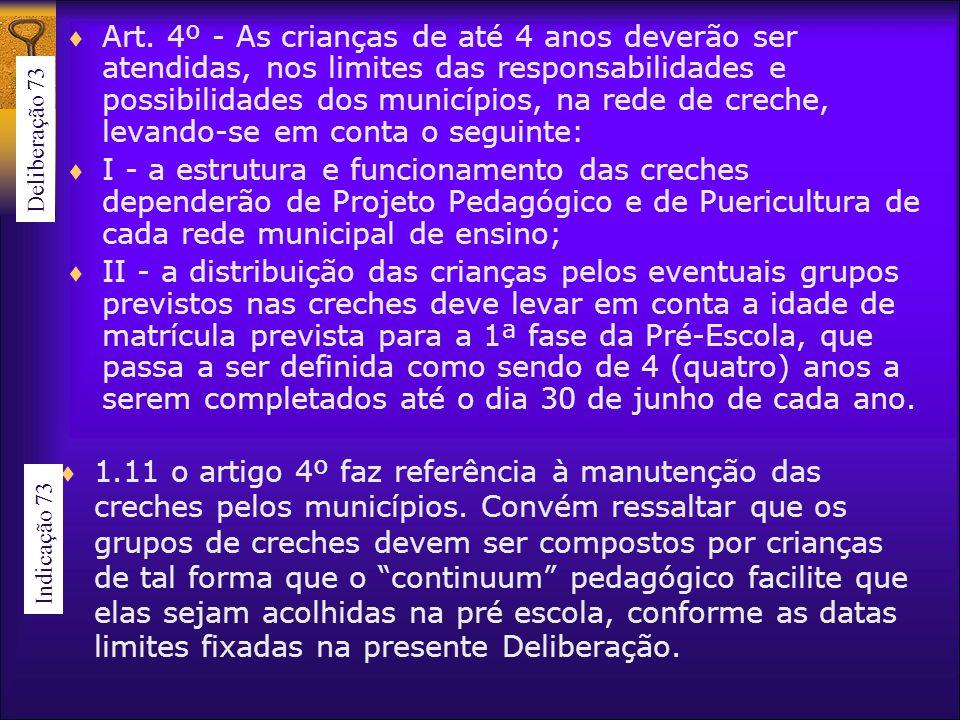 Art. 4º - As crianças de até 4 anos deverão ser atendidas, nos limites das responsabilidades e possibilidades dos municípios, na rede de creche, levan
