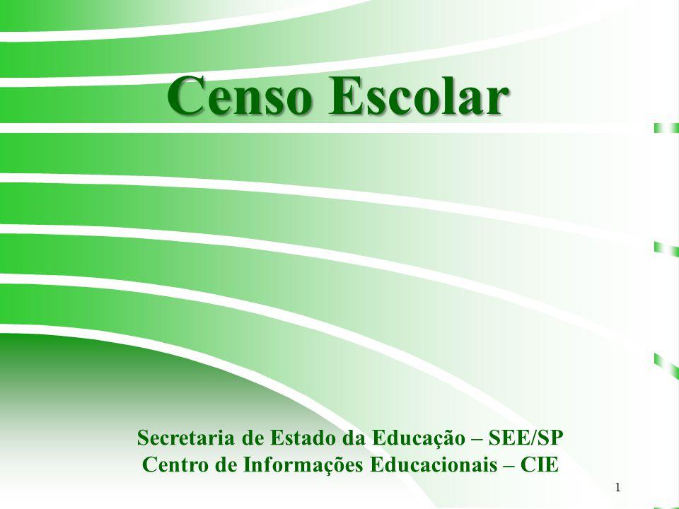 1 Censo Escolar Secretaria de Estado da Educação – SEE/SP Centro de Informações Educacionais – CIE