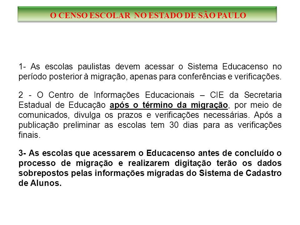 1- As escolas paulistas devem acessar o Sistema Educacenso no período posterior à migração, apenas para conferências e verificações.