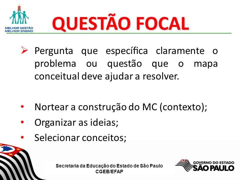 Secretaria da Educação do Estado de São Paulo CGEB/EFAP QUESTÃO FOCAL Pergunta que especíca claramente o problema ou questão que o mapa conceitual dev