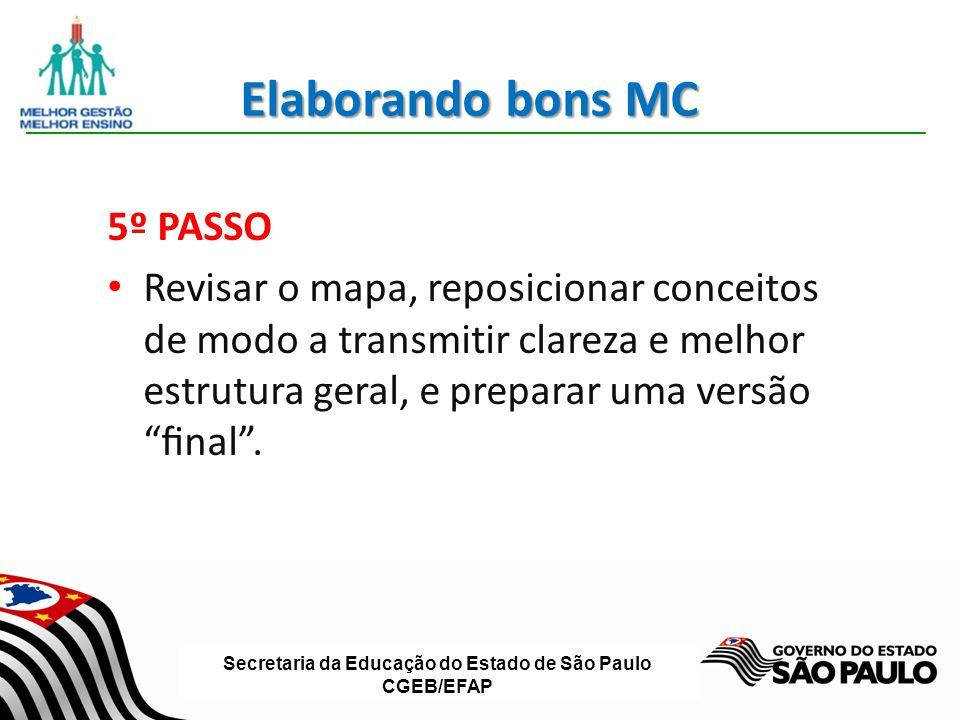 Secretaria da Educação do Estado de São Paulo CGEB/EFAP Elaborando bons MC 5º PASSO Revisar o mapa, reposicionar conceitos de modo a transmitir clarez