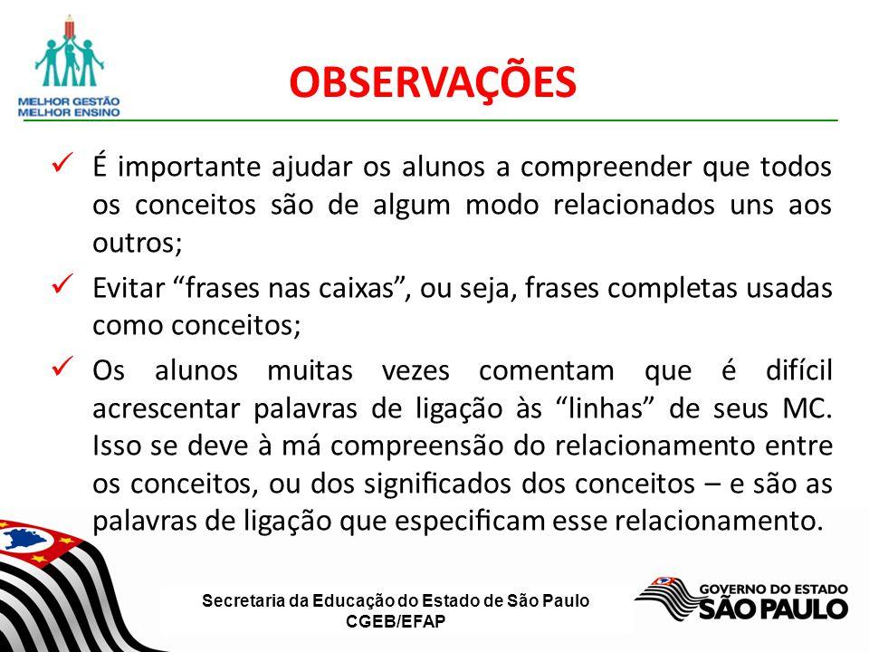 Secretaria da Educação do Estado de São Paulo CGEB/EFAP OBSERVAÇÕES É importante ajudar os alunos a compreender que todos os conceitos são de algum mo