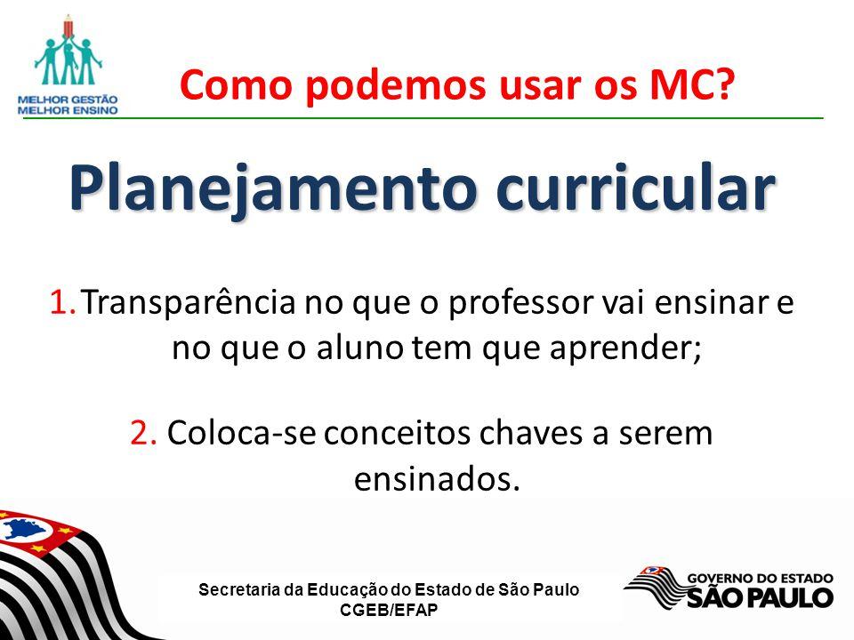 Secretaria da Educação do Estado de São Paulo CGEB/EFAP Como podemos usar os MC? Planejamento curricular 1.Transparência no que o professor vai ensina