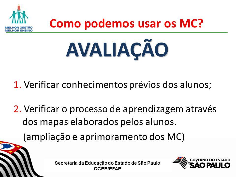 Secretaria da Educação do Estado de São Paulo CGEB/EFAP Como podemos usar os MC? AVALIAÇÃO 1. Verificar conhecimentos prévios dos alunos; 2. Verificar