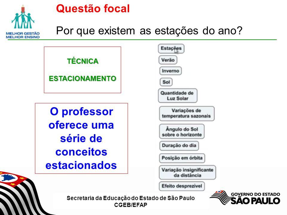 Secretaria da Educação do Estado de São Paulo CGEB/EFAP O professor oferece uma série de conceitos estacionados TÉCNICAESTACIONAMENTO Questão focal Po