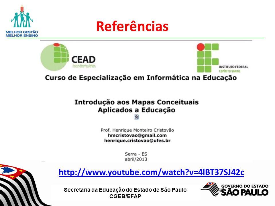 Secretaria da Educação do Estado de São Paulo CGEB/EFAP Referências http://www.youtube.com/watch?v=4lBT37SJ42c