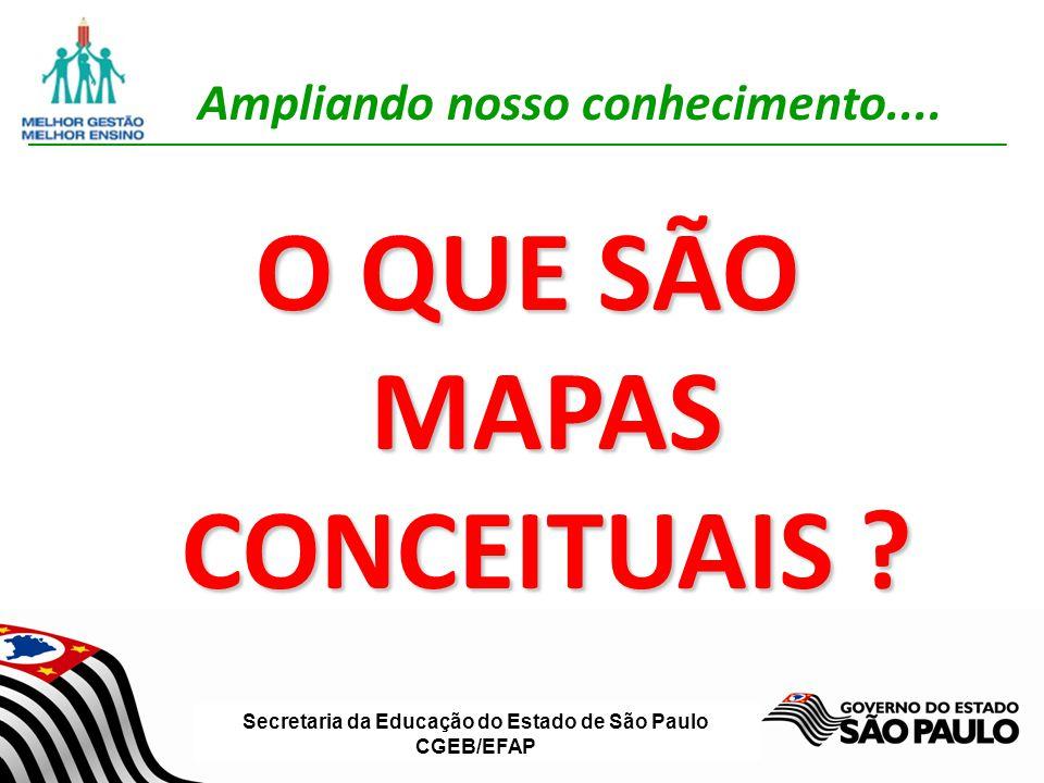 Secretaria da Educação do Estado de São Paulo CGEB/EFAP Elaborando bons MC 2º PASSO Identicar os conceitos-chave que se aplicam a esse contexto; Em torno de 15 a 25 conceitos; Escala ordenada dos conceitos mais gerais e inclusivos para os mais especícos e menos gerais.