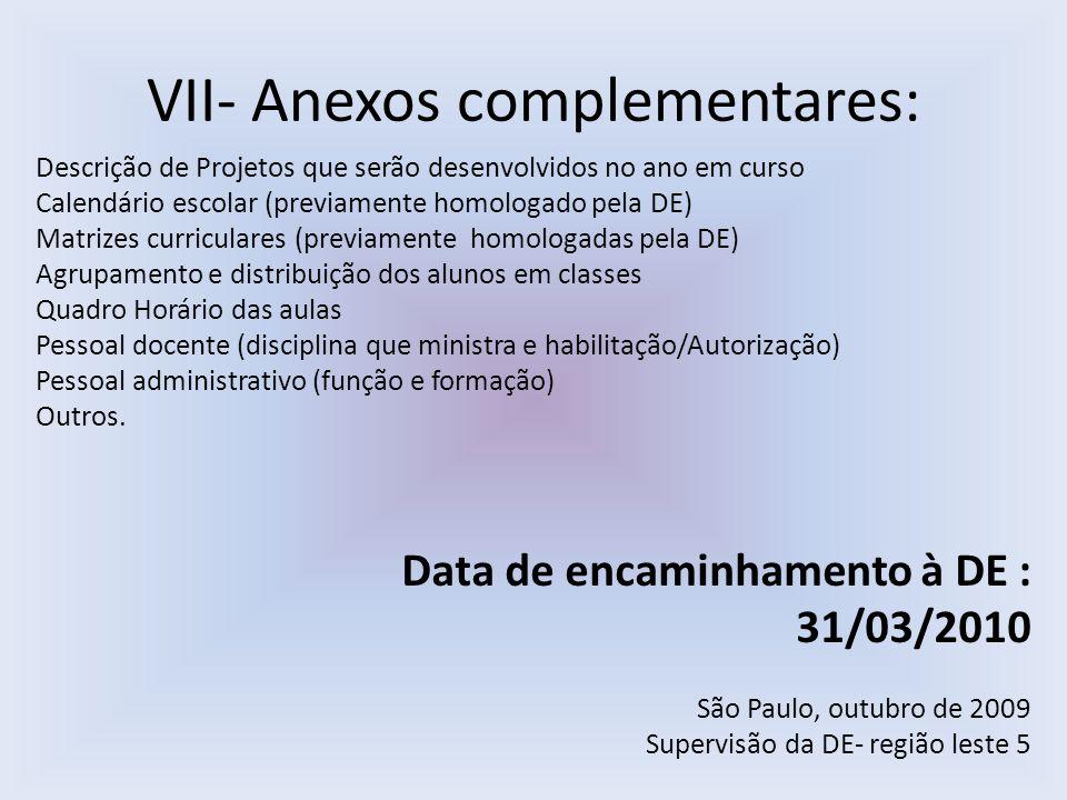 VII- Anexos complementares: Descrição de Projetos que serão desenvolvidos no ano em curso Calendário escolar (previamente homologado pela DE) Matrizes