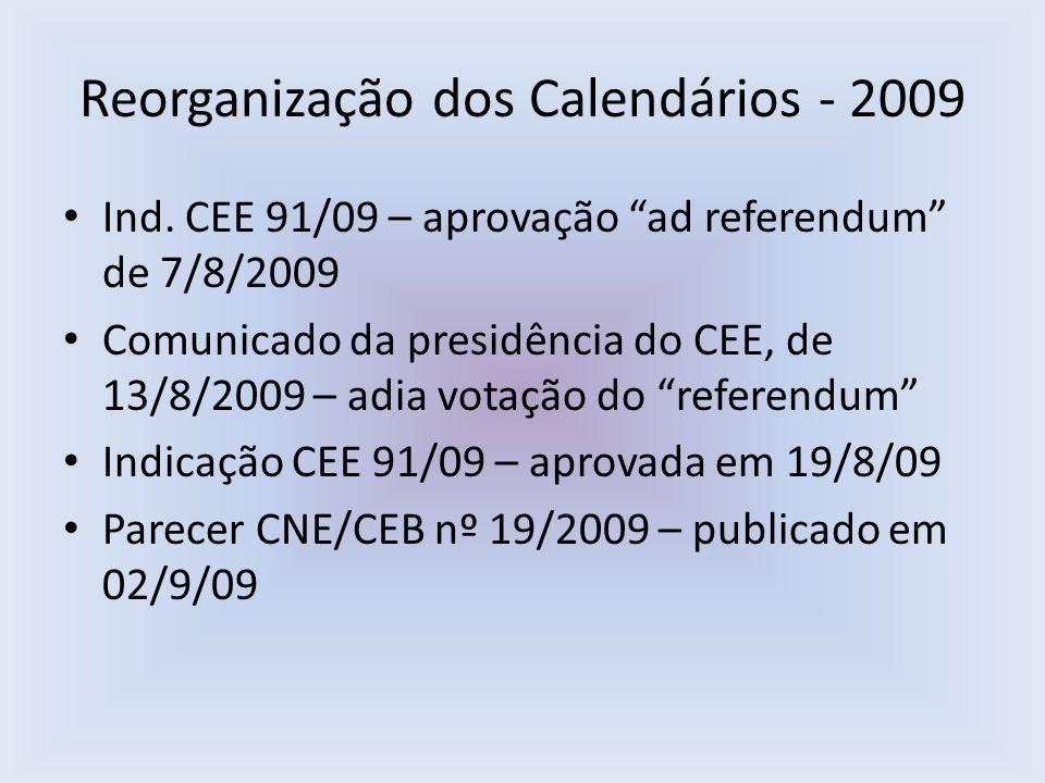 Reorganização dos Calendários - 2009 Ind. CEE 91/09 – aprovação ad referendum de 7/8/2009 Comunicado da presidência do CEE, de 13/8/2009 – adia votaçã
