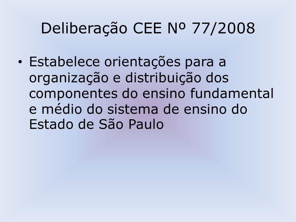 Deliberação CEE Nº 77/2008 Estabelece orientações para a organização e distribuição dos componentes do ensino fundamental e médio do sistema de ensino do Estado de São Paulo