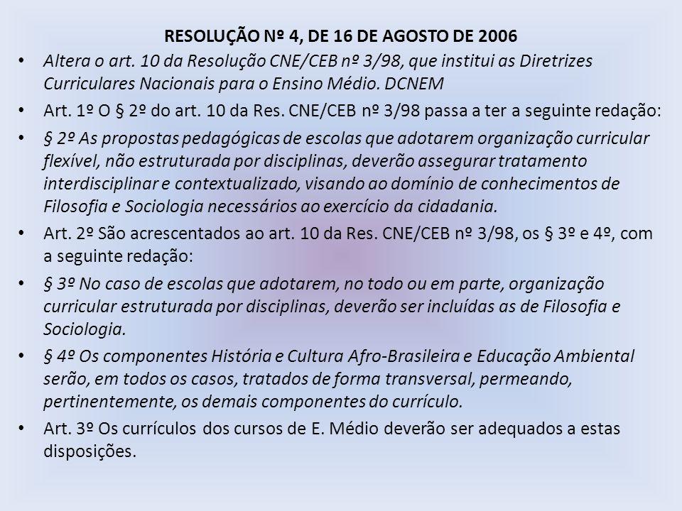 RESOLUÇÃO Nº 4, DE 16 DE AGOSTO DE 2006 Altera o art. 10 da Resolução CNE/CEB nº 3/98, que institui as Diretrizes Curriculares Nacionais para o Ensino