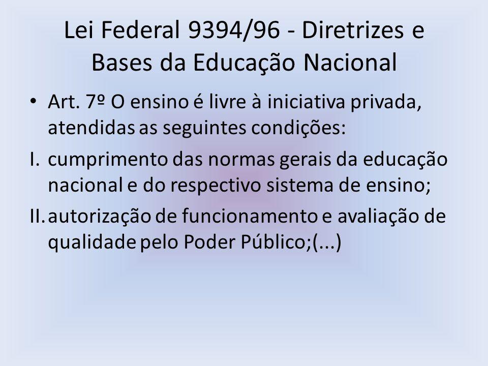 Lei Federal 9394/96 - Diretrizes e Bases da Educação Nacional Art. 7º O ensino é livre à iniciativa privada, atendidas as seguintes condições: I.cumpr