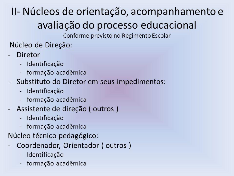 II- Núcleos de orientação, acompanhamento e avaliação do processo educacional Conforme previsto no Regimento Escolar Núcleo de Direção: -Diretor -Identificação -formação acadêmica -Substituto do Diretor em seus impedimentos: -Identificação -formação acadêmica -Assistente de direção ( outros ) -Identificação -formação acadêmica Núcleo técnico pedagógico: -Coordenador, Orientador ( outros ) -Identificação -formação acadêmica