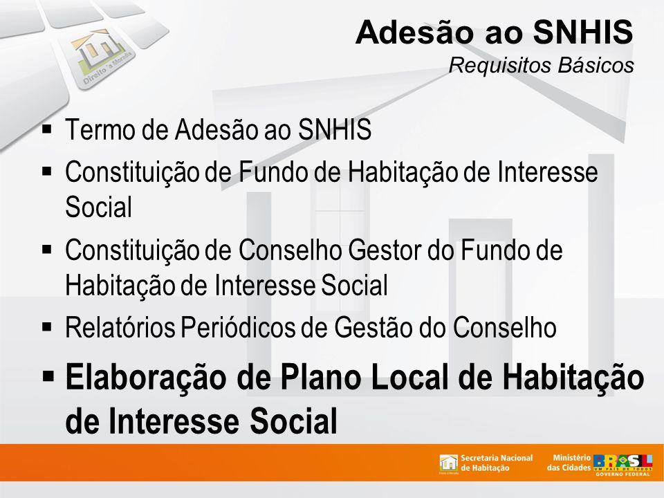 Adesão ao SNHIS Requisitos Básicos Termo de Adesão ao SNHIS Constituição de Fundo de Habitação de Interesse Social Constituição de Conselho Gestor do