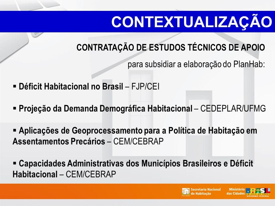 CONTEXTUALIZAÇÃO CONTRATAÇÃO DE ESTUDOS TÉCNICOS DE APOIO para subsidiar a elaboração do PlanHab: Déficit Habitacional no Brasil – FJP/CEI Projeção da