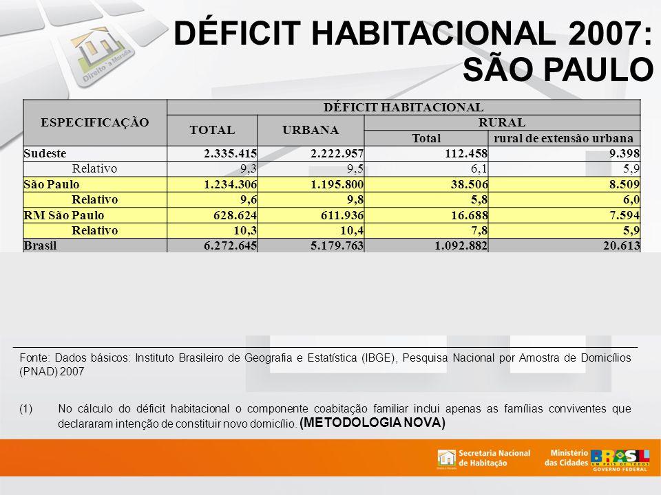 FONTE: SNH/MCidades; CEM/Cebrap, 2007 820.513 domicílios do estado de SP encontram-se em assentamentos precários 80,69% localizam-se nas RMs; 45,21% localizam-se na cidade de São Paulo; corresponde a 12,55% do total de domicílios situados no município.