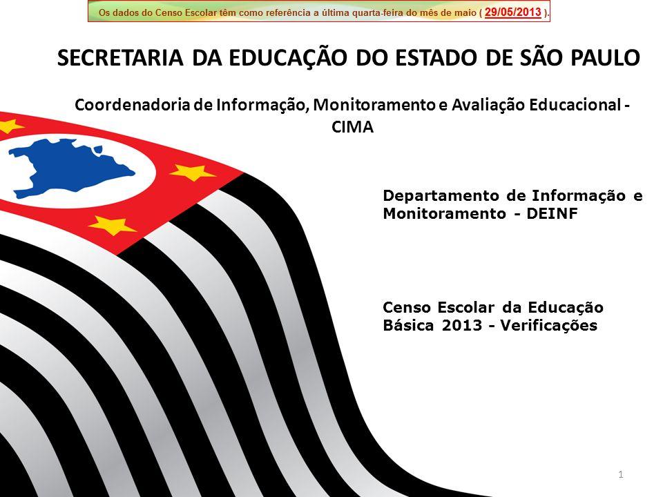 1 Departamento de Informação e Monitoramento - DEINF Coordenadoria de Informação, Monitoramento e Avaliação Educacional - CIMA SECRETARIA DA EDUCAÇÃO DO ESTADO DE SÃO PAULO Censo Escolar da Educação Básica 2013 - Verificações