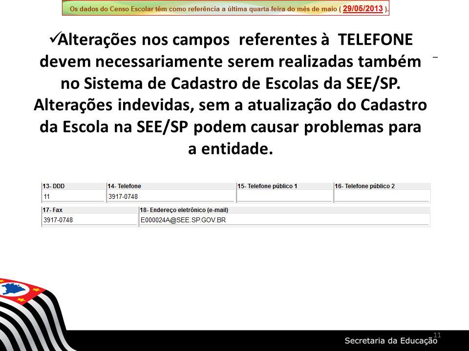 Alterações nos campos referentes à TELEFONE devem necessariamente serem realizadas também no Sistema de Cadastro de Escolas da SEE/SP. Alterações inde