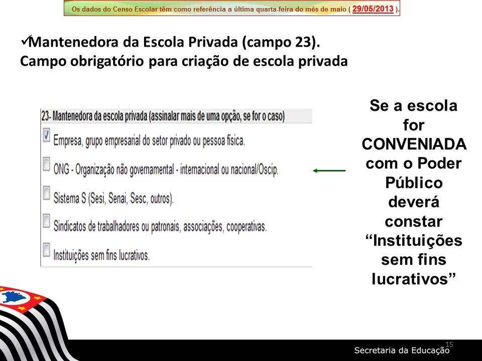 Se a escola for CONVENIADA com o Poder Público deverá constar Instituições sem fins lucrativos Mantenedora da Escola Privada (campo 23). Campo obrigat