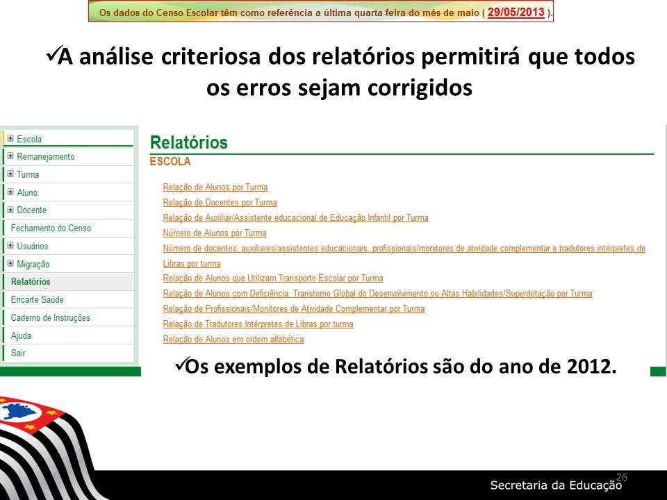 26 Os exemplos de Relatórios são do ano de 2012. A análise criteriosa dos relatórios permitirá que todos os erros sejam corrigidos