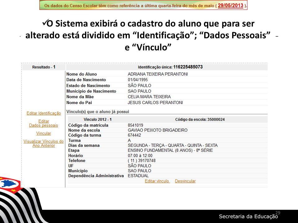 O Sistema exibirá o cadastro do aluno que para ser alterado está dividido em Identificação; Dados Pessoais e Vínculo 29