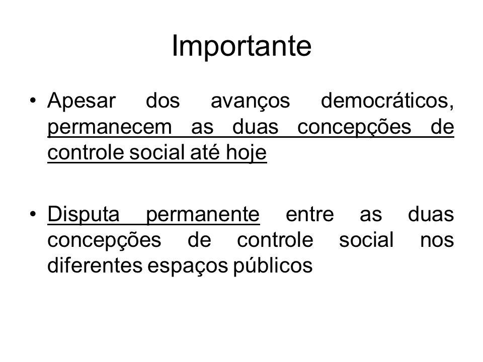 Importante Apesar dos avanços democráticos, permanecem as duas concepções de controle social até hoje Disputa permanente entre as duas concepções de controle social nos diferentes espaços públicos