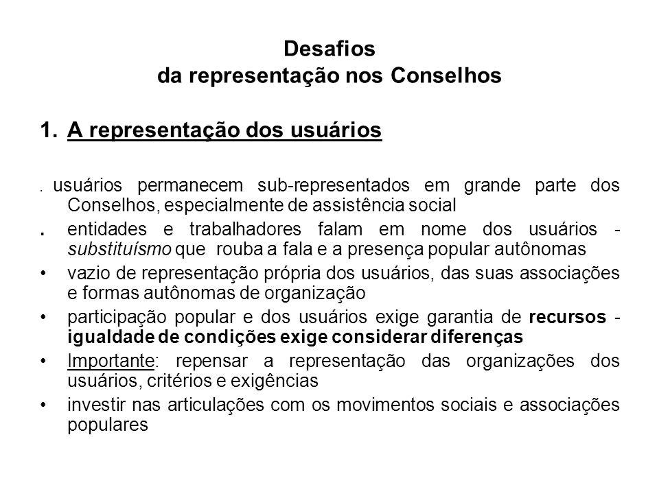 Desafios da representação nos Conselhos 1.A representação dos usuários.