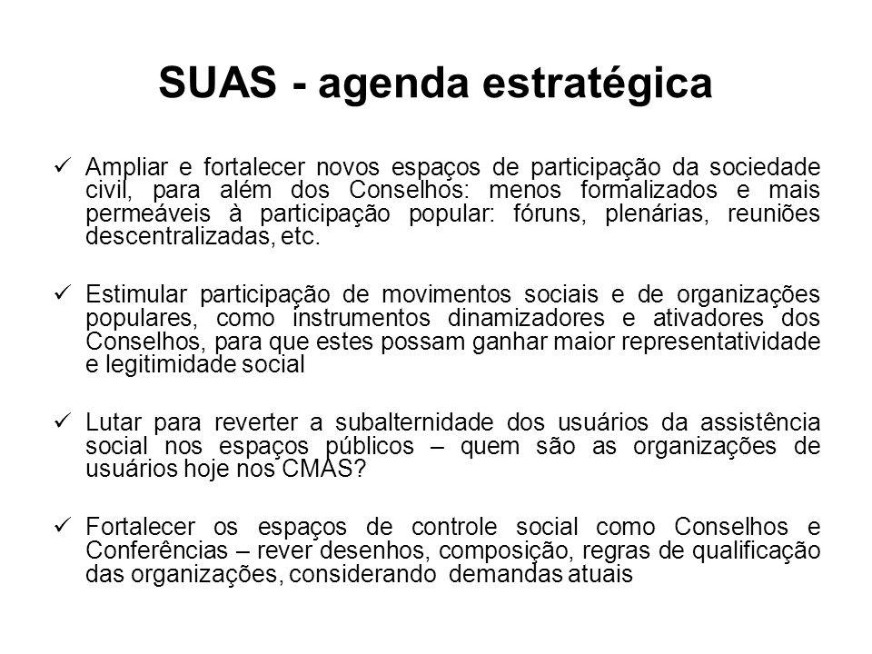 SUAS - agenda estratégica Ampliar e fortalecer novos espaços de participação da sociedade civil, para além dos Conselhos: menos formalizados e mais permeáveis à participação popular: fóruns, plenárias, reuniões descentralizadas, etc.