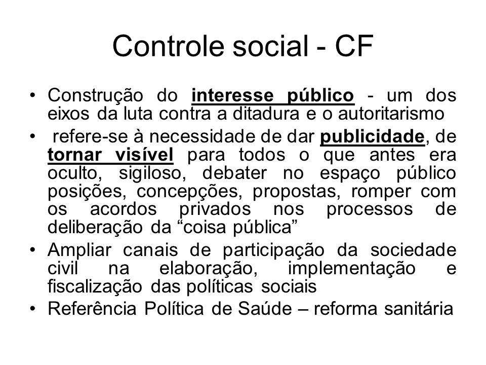 Conselhos são espaços de exercício do controle social mas os conselhos também precisam ser controlados pela sociedade civil organizada precisam ser ativados pela ação dos movimentos populares e organizações sociais e políticas que devem estar representados
