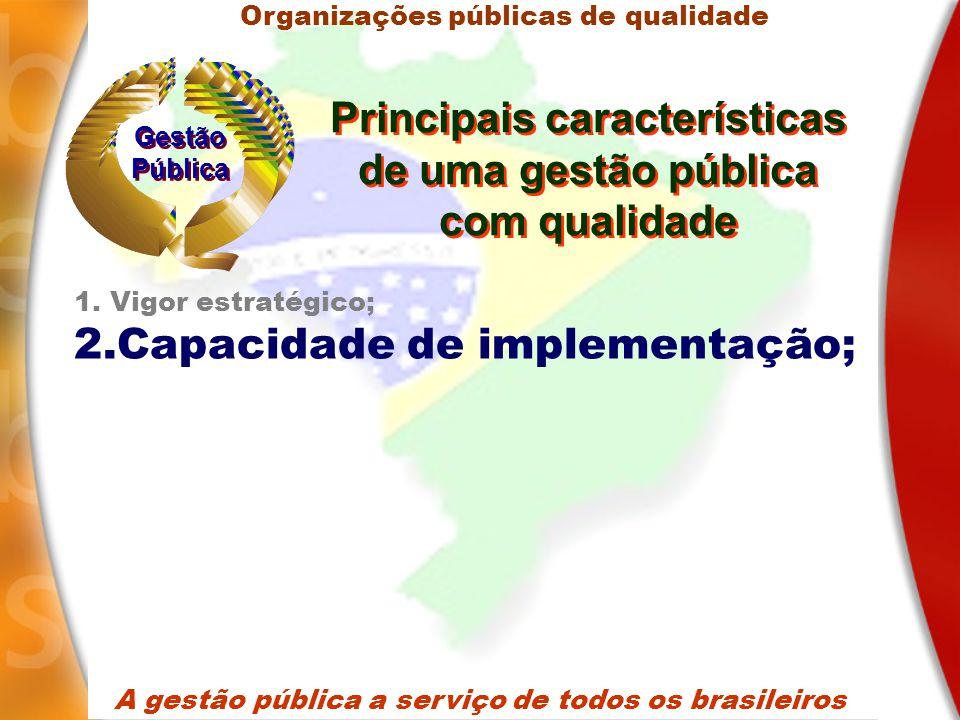 A gestão pública a serviço de todos os brasileiros 1.Vigor estratégico; 2.Capacidade de implementação; Organizações públicas de qualidade Gestão Pública Gestão Pública Principais características de uma gestão pública com qualidade Principais características de uma gestão pública com qualidade