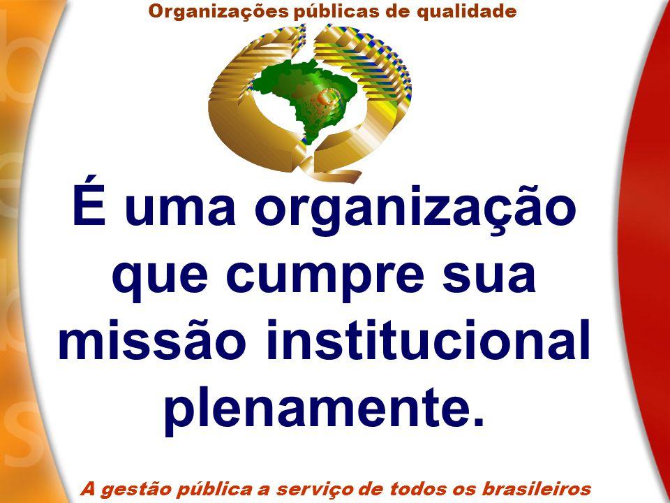 É uma organização que tem capacidade para fazer, com eficiência e resultados efetivos, o que precisa ser feito.