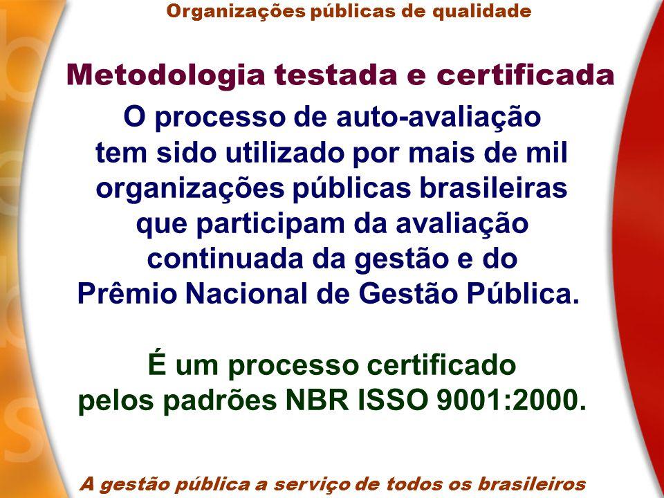 O processo de auto-avaliação tem sido utilizado por mais de mil organizações públicas brasileiras que participam da avaliação continuada da gestão e do Prêmio Nacional de Gestão Pública.