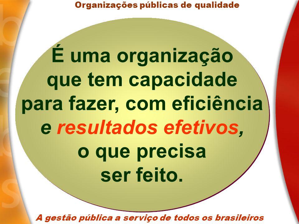 A gestão pública a serviço de todos os brasileiros 1.Vigor estratégico; 2.Capacidade de implementação; 3.Qualidade do gasto; 4.Desburocratizada; 5.Servidores valorizados; 6.Desempenho comparado; 7.Valor público positivo; Organizações públicas de qualidade Gestão Pública Gestão Pública Principais características de uma gestão pública com qualidade Principais características de uma gestão pública com qualidade