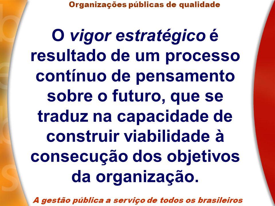 O vigor estratégico é resultado de um processo contínuo de pensamento sobre o futuro, que se traduz na capacidade de construir viabilidade à consecução dos objetivos da organização.